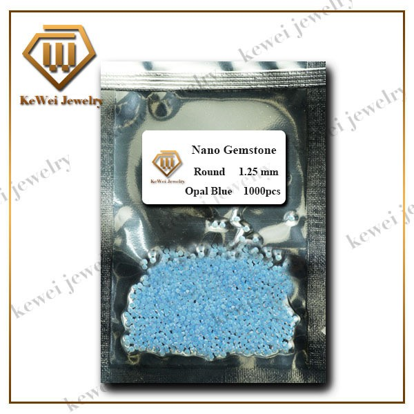 Details about  /Size 1~3mm Round Shape Sea Blue Synthetic Nano Gemstone