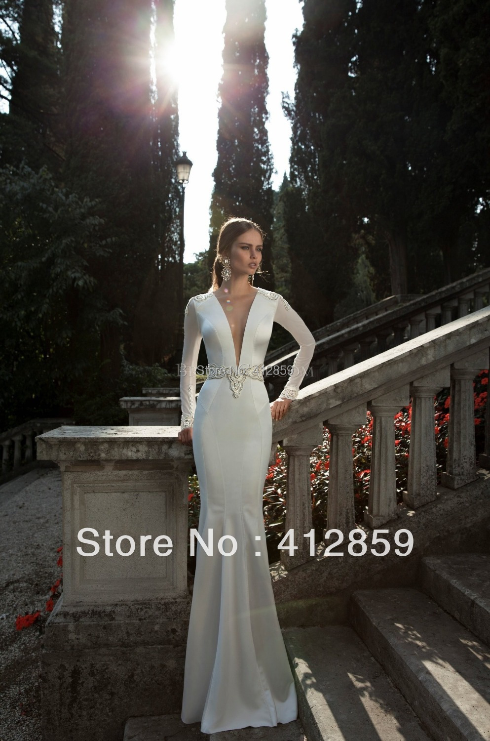2017 Berta Bridal Spring Deep V Neck Satin Long Sleeves White Wedding Gowns Elegant Dresses In From Weddings Events On