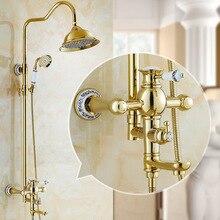 golden shower set antique brass bathroom faucet 8 inch rainfall shower head ceramic gold bathroom accessories