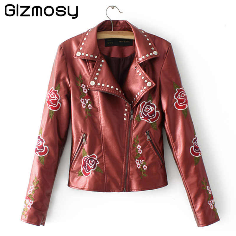 Autumn Leather Jacket Women Casual Basic Coat Embroidery Rivet PU Leather Motorcycle Jackets Outwear jaqueta de couro BN1381