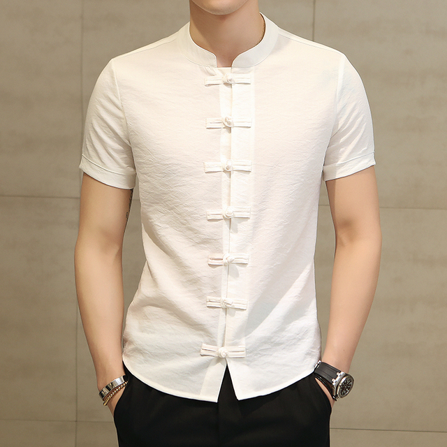 Chinese Style Linen Slim Fit Casual Short Sleeve Dress Shirt