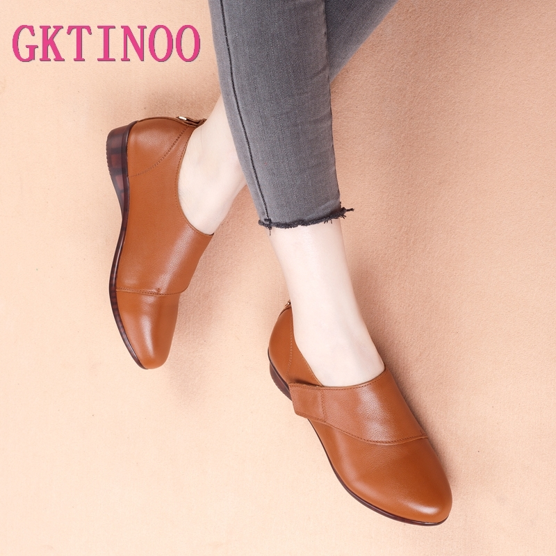 GKTINOO Women Flats 2019 Autumn Spring Genuine Leather Flat Shoes Woman Pointed Toe Female Casual Comfortable