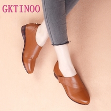 GKTINOO Women Flats 2019 Autumn Spring Genuine Leather Flat Shoes Woman Pointed Toe Female Casual Comfortable Platform Shoes