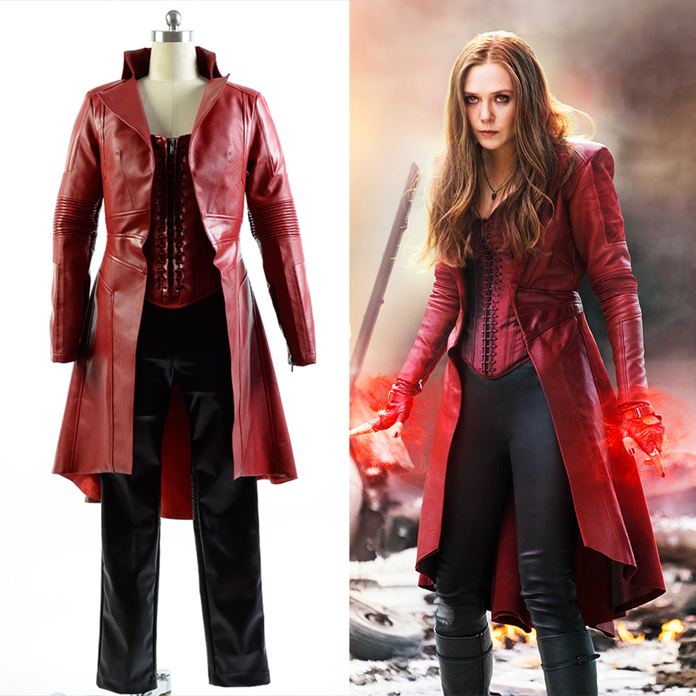 Captain America Civil War Avengers Scarlet Witch Wanda Leather Outfit FullSet Cosplay Costume For Adult Women Halloween Carnival