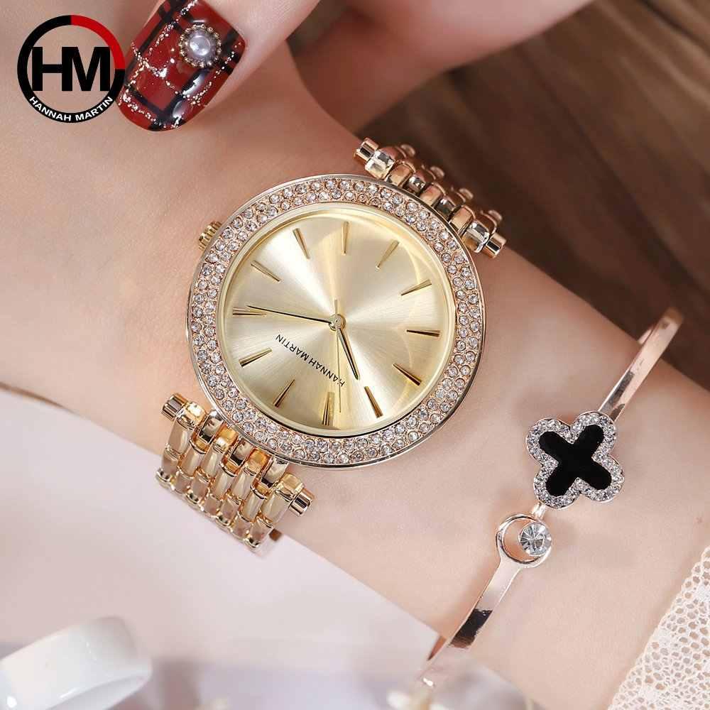 HM נשים של שעון כפול ריינסטון צלב-גבול אופנה אופנתי ואצילי סגנון קוורץ שעון חגורת פלדה עמיד למים שעון