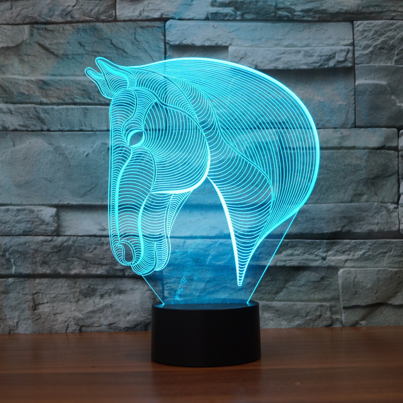 3D Atmosphere lamp 7 Color Changing Visual illusion LED Decor Lamp Horse Head Home Table Decoration for Child Gift