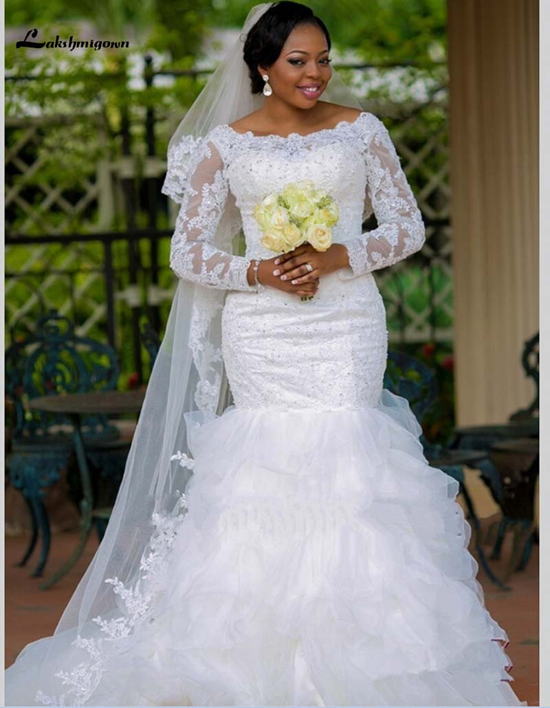 Plus Size Bateau wedding dress Neckline Lace Long Sleeve Organza Mermaid Wedding Dresses robe de mariage Bridal Gowns trouwjurk