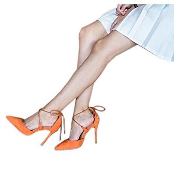 Pointu Suede Bout Femmes Hauts Talons Soirée Lovirs Lace Orange De Sexy Stiletto Mariage Chaussures Up À Pompes Robe SY0xBxwqv