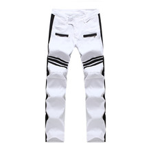 Free Shipping 2016 New Top Quality White Biker Jeans Men Black Stripes Stitching Slim Homme Casual Straight Slim Denim Pants