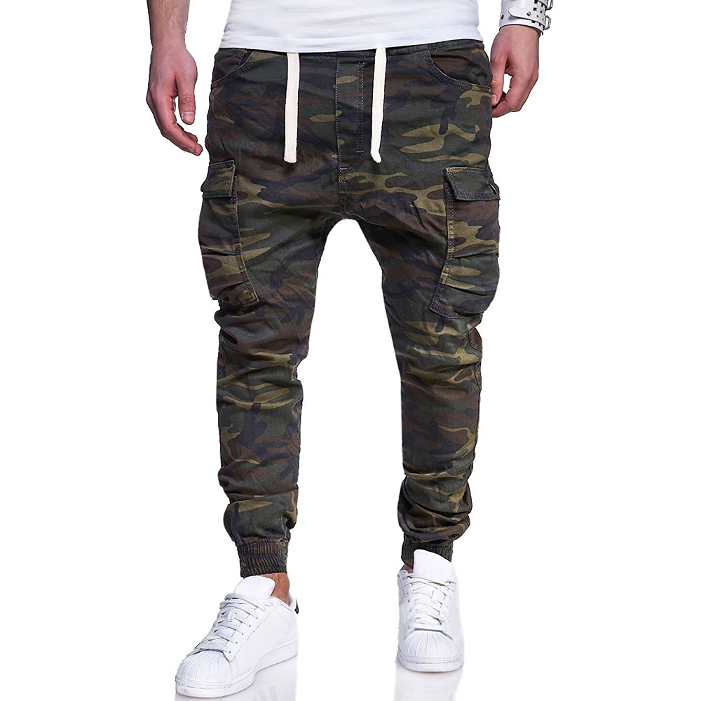 Loldeal Mens Twill  Chinos Pants Harem Stretch Slim Fit  Camouflage Printed Tie Belt Casual Pants