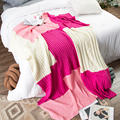 iDouillet Color Block Contrast Chunky Cable Knit Throw Blanket Bed Couch Decorative Travel Bedding 130x170cm Pink Fuchsia Beige