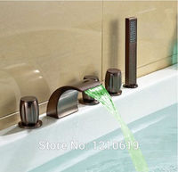 Newly US Free Shipping Oil rubbed Bronze Red Bathroom Bathtub Faucet W/ Brass Hand Shower Sprayer LED Color Changing Deck Mount