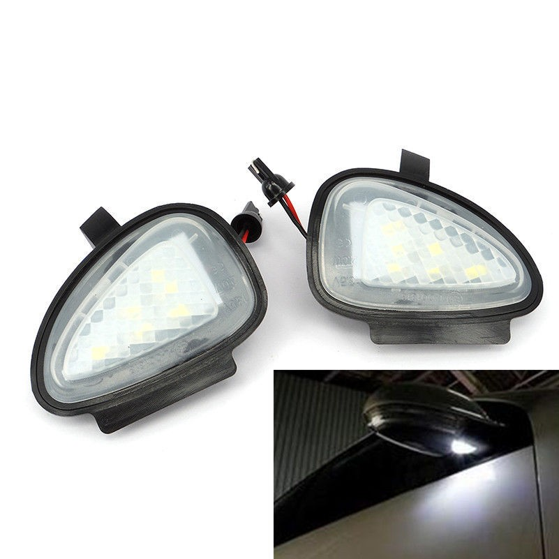 2x White Error Free LED Side font b Mirror b font Puddle Light For vw Golf