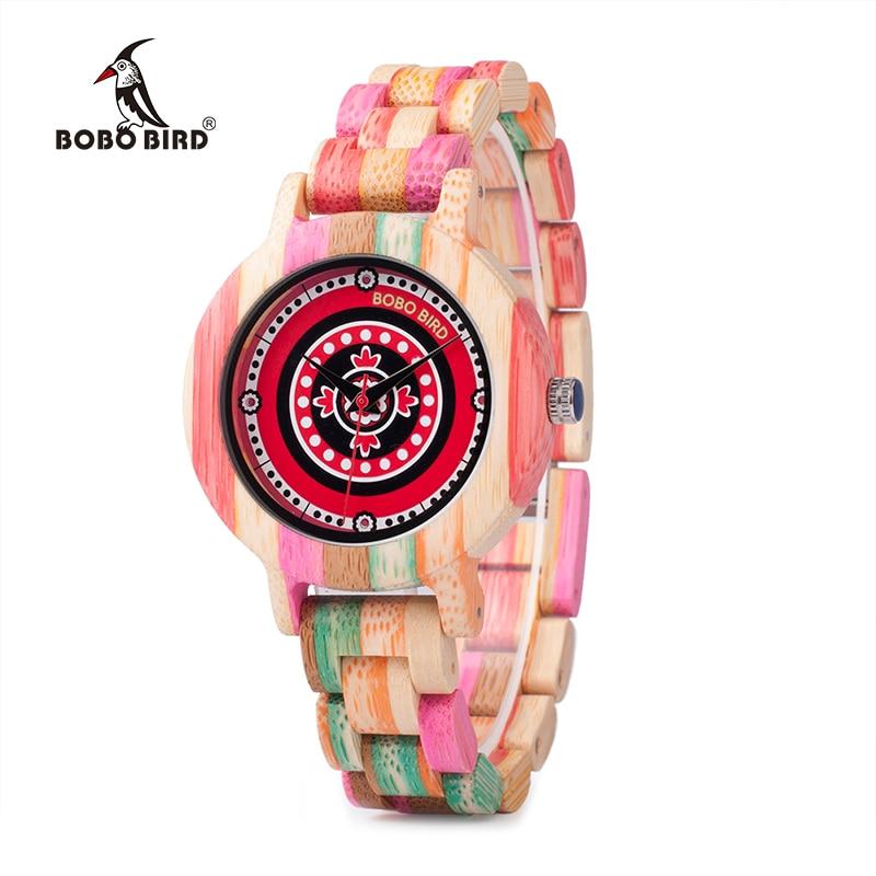 BOBO BIRD Bamboo Wooden Women Watches V-P08 Colorful Bamboo Fashion Quartz Wristwatch Unique Ladies Clock