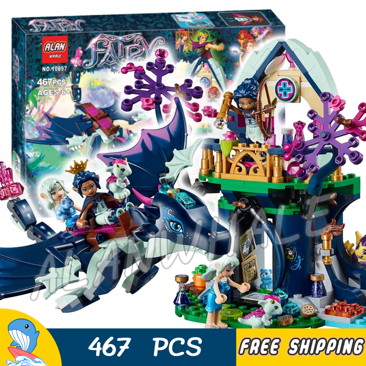 467pcs Rosalyn's Healing Hideout Tree House 10697 Model Building Blocks Children Fairy Princess Toys Compatible with Lego Elves ynynoo bela 10501 233pcs princess friend elves elvendale school of dragons model building kits blocks brick with 41173
