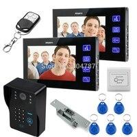 7 ЖК дисплей видео Deurtelefoon колокольчиками домофон брелки ИК Камера товара Toetsenbord Remote + Schakelaar + Elektrische Strike замок 1V2