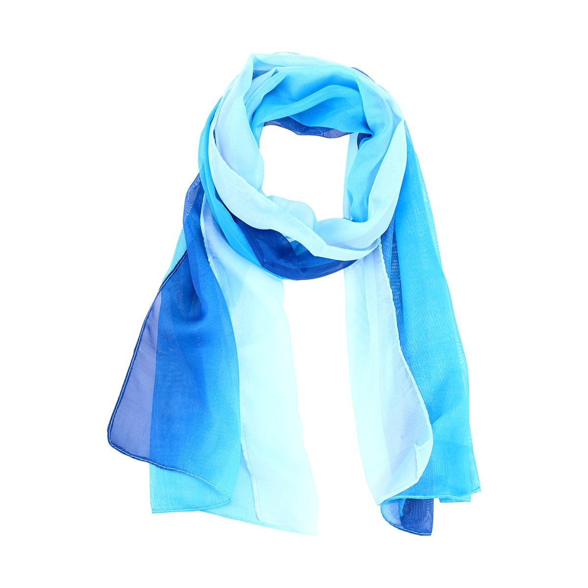 Unique Womens Elegant Scarves Chiffon Gradient Color Scarf (Blue And White)