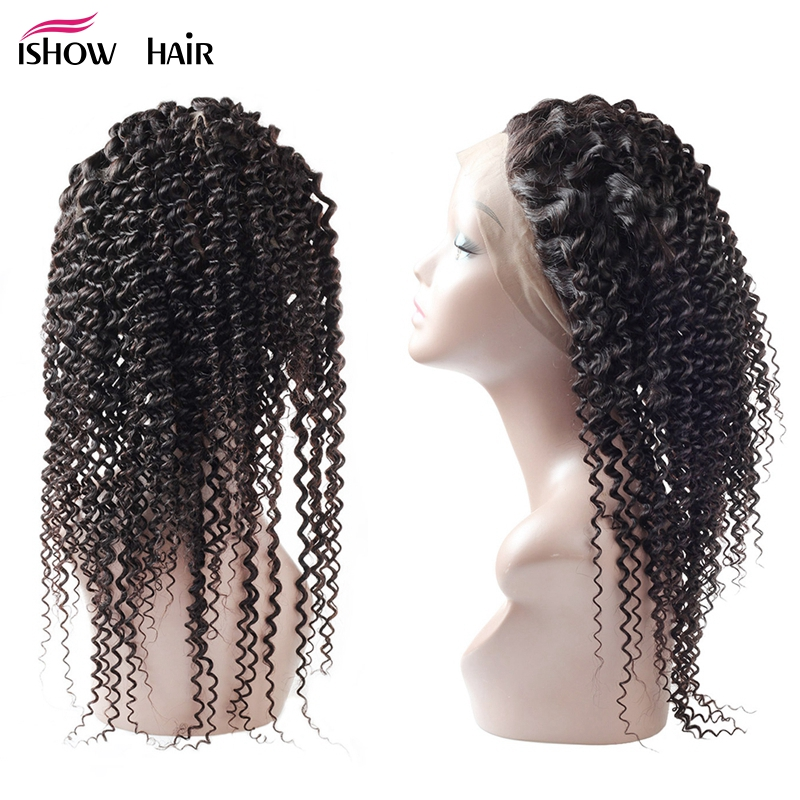 Ishow Pre Plucked 360 Lace Frontal Malaysian Curly Hair Closure With Baby Hair Natural Hairline Non