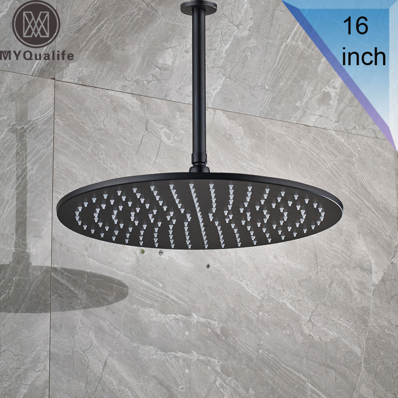 ヾ(^▽^)ノBlack Bronze 16 Big Rainfall Shower Faucet Head Bathroom ...
