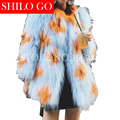 Plus size 2016 fashion new winter women high-quality pure hand-made natural raccoon fur long blue flower fur oversize coat