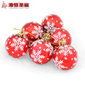 6cm Light Painted Snowflke Christmas Balls Christmas Decoration for Home Restaurant Hotel Christmas Tree Decor 6pcs a Pack