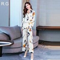 RG Floral Printed Blazer Pants Suit Formal Business Office Suits Plus Size 2XL Jacket Trousers 2 Piece Set Suits Autumn 2018