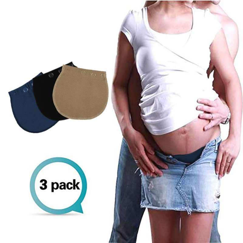 3PCS Button Maternity Waistband Elastic Extender Soft Pants Belt Adjustable Extension Buckle Button For Pregnant Women