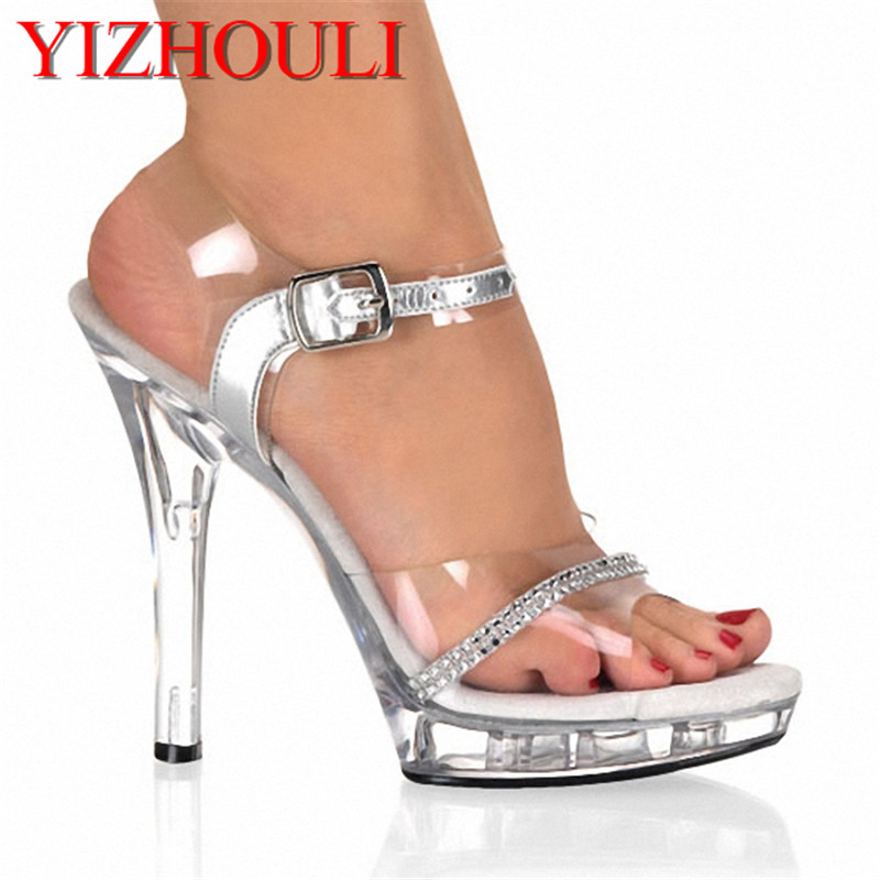 Elegant Princess Style Clear 13cm Open Toe High Heel Platform Shoes, Sandals, Pole Dance / Model / Wedding Shoes