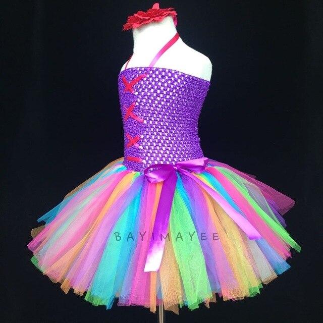 Regenbogen Tutu Mädchen Häkeln Kleid Baby 2 Schichten Tüll Kleid