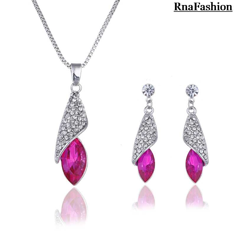 New 2014 Hot selling Wholesale Silver Plated Crystal tear Water Drop Pendant Necklace Stud Earring fashion Jewelry Set For Women