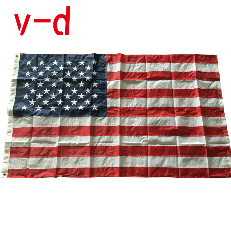 Epacket  Free Shipping xvggdg 90x150cm American Flag Embroidered Thicken Oxford Nylon USA flag