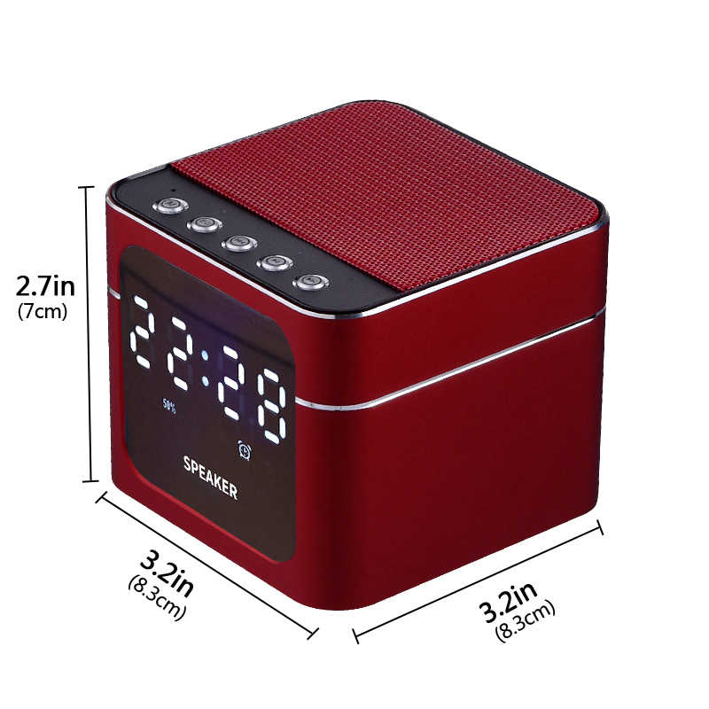 EAAGD Aluminum Alloy LED Alarm Clock with Wireless Bluetooth Speaker Support TF Card AUX Input Music Player for Smart Phone