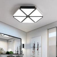 Modern Stylish Geometry Art Hexagon Shape Acrylic Scrub Black/White Shade Stitching Triangle LED Ceiling Light for Living Room