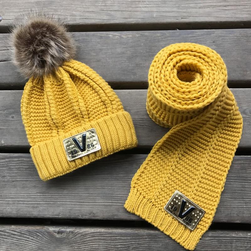 Winter Baby Kids Boy Girls Solid Caps Scarf Warm Wool Knitted Cute Letter Hat+Beanie Scarf 2pcs/Set Children Neck Warmer Cap