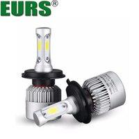EURS TM 2PCS S2 H4 H7 H13 H11 H1 H3 9004 9006 9007 COB LED Headlight