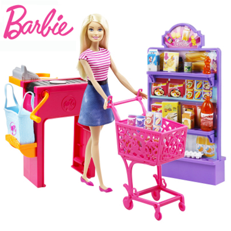 Original Barbies Dolls House The Supermarket Shopping Multi Function Toy Boneca Mode FDY23 Brinquedos For For