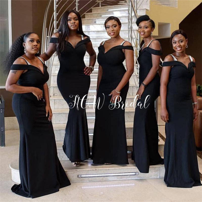 Mermaid Black African   Bridesmaid     Dresses   2019 High Quality Floor Length Elastic Satin Long Wedding Party   Dress   Cheap