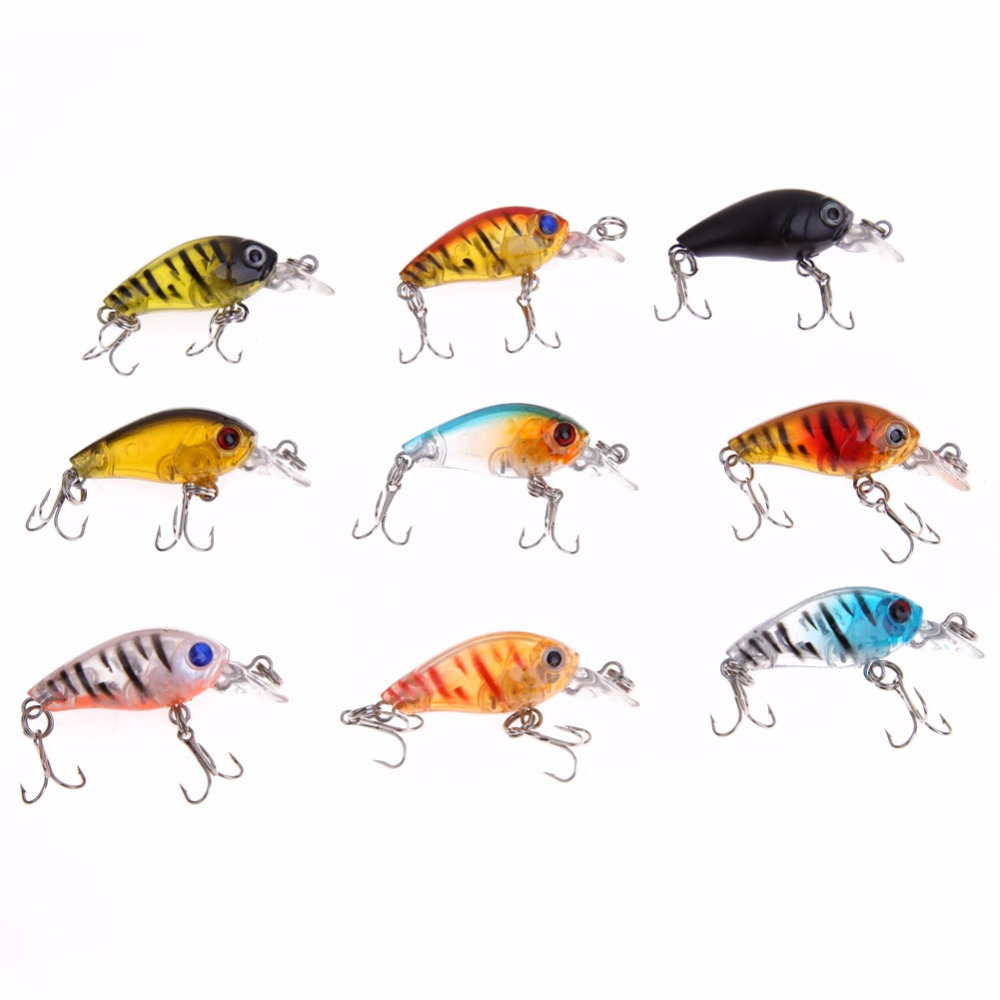 9pcs/Lot 4.5cm/4g Plastic Fishing Lure Minnow Hard Bait Bass CrankBait Tackle Fishing Lure with Artificial Hooks wldslure 4pcs lot 9 5g spoon minnow saltwater anti hitch crankbait hard plastic plainting fishing lures bait jig wobbler lure