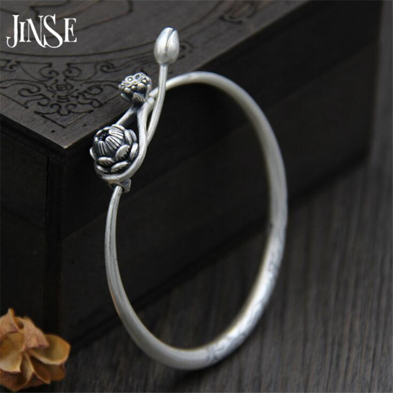 JINSE Hot Sale Vintage Rock Christmas Gift 100% 999 Sterling Silver Bracelet Bangle Jewelry For Men Women Lotus Opening Bangle emith fla 100% real 999 sterling silver bangle opening fashion jewelry for women lotus adjustable vintage thai silver bracelets