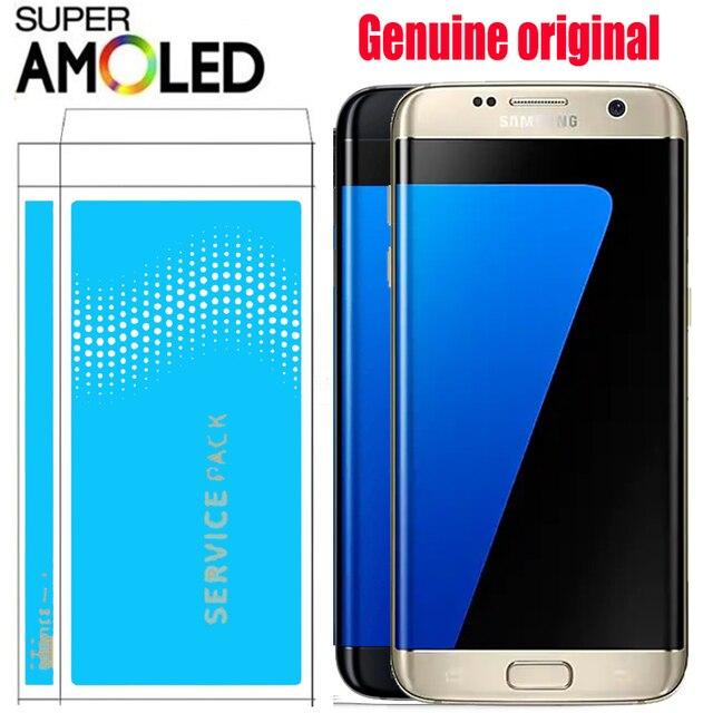 "ORIGINAL 5,5 ""SUPER AMOLED pantalla LCD con marco para SAMSUNG Galaxy s7 borde G935 G935F digitalizador de pantalla táctil de la pantalla + paquete de Servicio"
