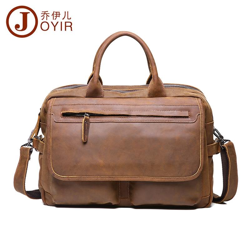 JOYIR men's briefcase crazy horse genuine leather men's business bag vintage messenger shoulder bag for male men briefcase 6367