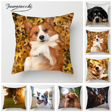 Fuwatacchi Cute Dogs Cushion Cover Various Animal Shar Pei Collie Print Pillow Covers for Sofa Chair Home Decor Pillowcases