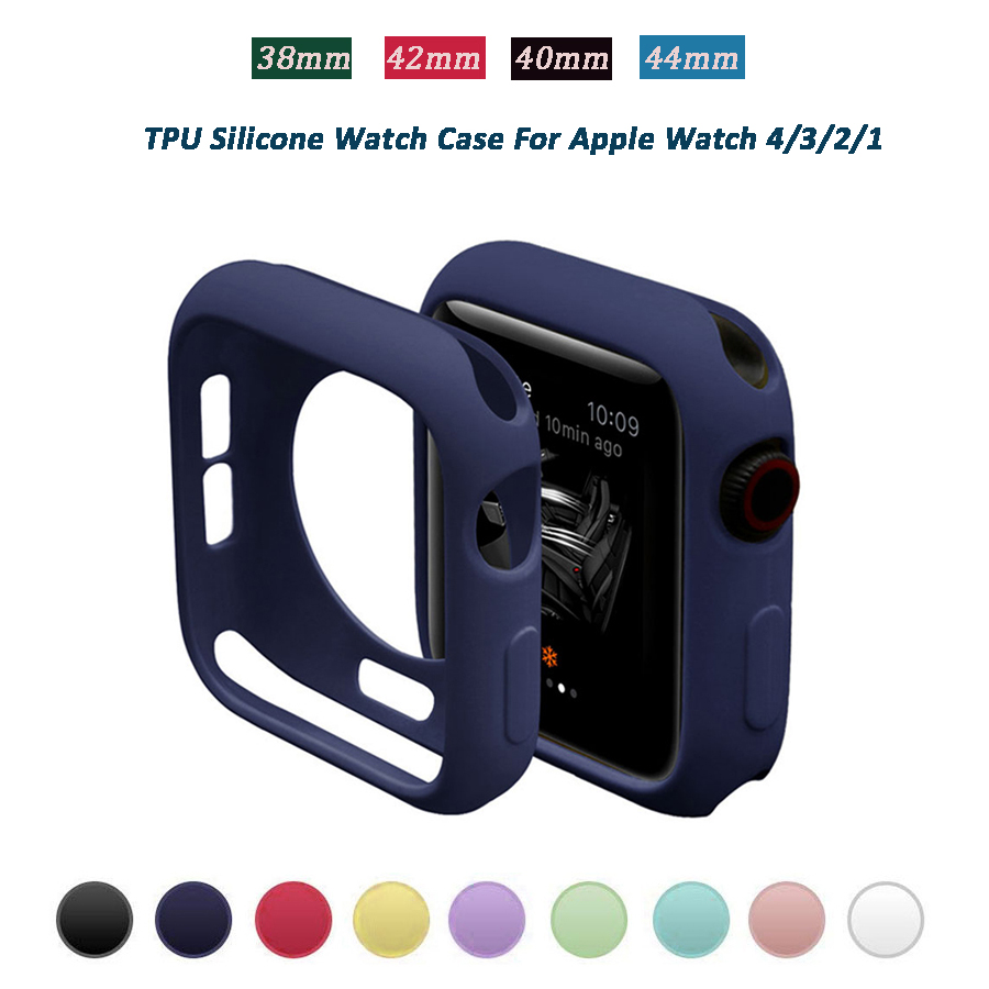 TPU Colorful Watch Case 38mm 42mm For IWatch Series 4 Silicone Protective 44mm Bumper Cover Case For Apple Watch Series 3 2 1