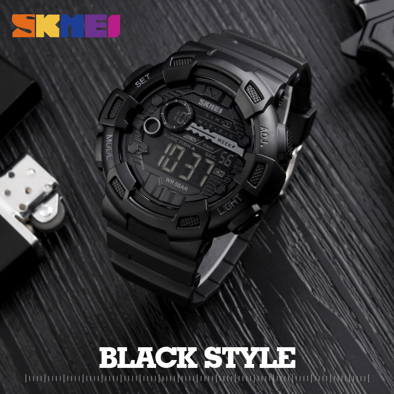 SKMEI Outdoor Sport Watch Men Multifunction 5Bar Waterproof PU Strap LED Display Watches Chrono Digital Wristwatch Reloj Hombre