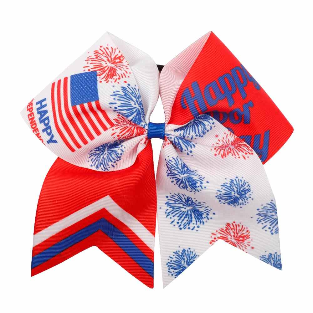 IBOWS Hair Accessories 4TH Of July Cheer Bows With Elastic Rubber Band Handmade American Flag Grosgrain Ribbon Hair Bow For Girl