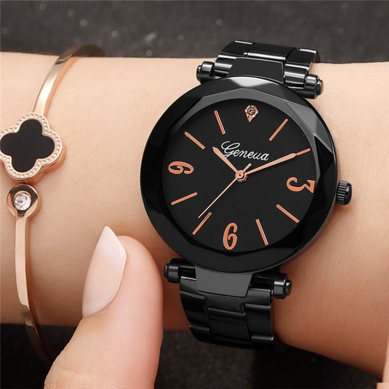 Geneva Black Stainless Steel Watch Women Top Brand Luxury Diamond Clock Ladies Wrist Watch Women Watches Relogio Feminino Femme диски dvd r verbatim 8 5gb 8x double layer cakebox 50шт 43758
