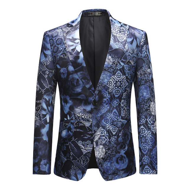 yffushi 2018 latest design men suit jacket floral print new blue