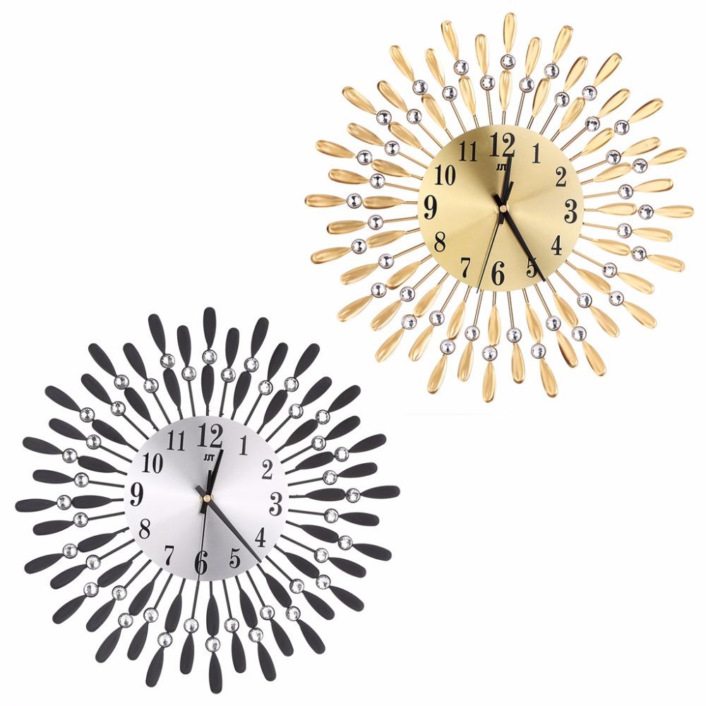 ddf7356a262 Compre Arte De Luxo Diamante Moderno Relógio De Parede De Metal ...