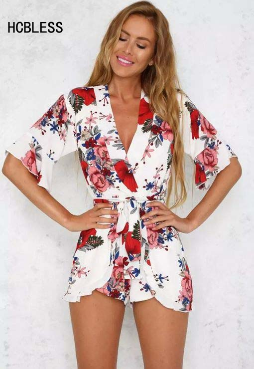 HCBLESS Red Floral Print Ruffles Playsuits Women Elegant Autumn White V Neck Jumpsuits Rompers Sexy Beach Girls Short Overalls