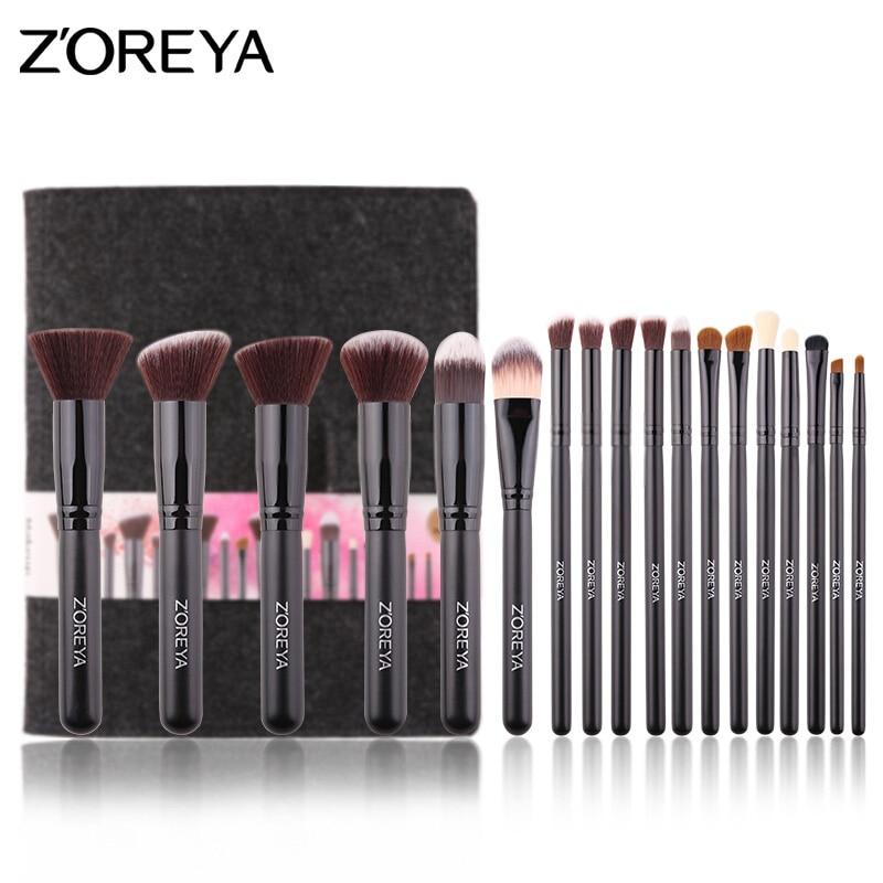 ZOREYA Daily Makeup Brushes Set beveled brush Powder Foundation Eyeshadow Make Up Brushes Cosmetics Soft Synthetic Hair